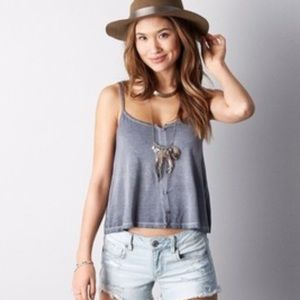 AEO Button Front Swing Cropped Tank Top